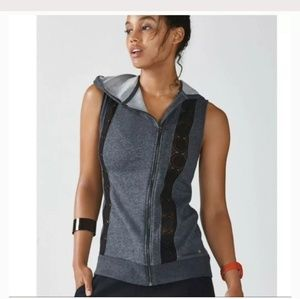NWT Fabletics Saige Hooded Vest Gray Athletic XS